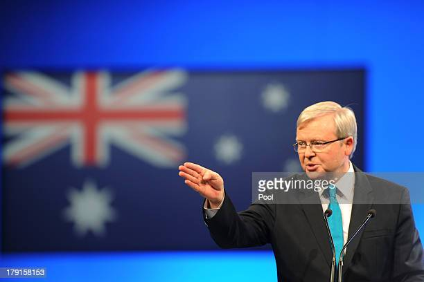 Prime Minister Kevin Rudd speaks during the Labor party campaign launch at the Brisbane Convention and Exhibition Centre on September 1, 2013 in...