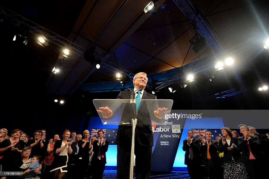 Prime Minister Kevin Rudd speaks during the Labor party campaign launch at the Brisbane Convention and Exhibition Centre on September 1, 2013 in Brisbane, Australia. The incumbent centre-left Australian Labor Party has trailed the conservative Liberal-National Party coalition for the first four weeks of the campaign, and most pollsters give them little hope of retaining government. Australians head to the polls this Saturday, September 7.