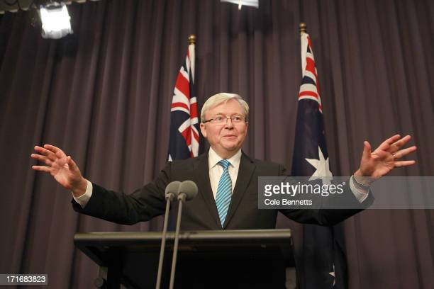 Prime Minister Kevin Rudd talks to the media at a press conference at Parliament House on June 28, 2013 in Canberra, Australia. Rudd announced he...