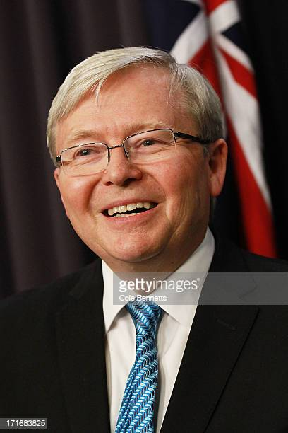 Prime Minister Kevin Rudd talks to the media at a press conference at Parliament House on June 28 2013 in Canberra Australia Rudd announced he would...