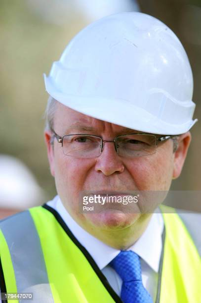 Prime Minister Kevin Rudd visits the construction site of the Ringwood Aquatic Centre on September 4, 2013 in Melbourne, Australia. With just three...