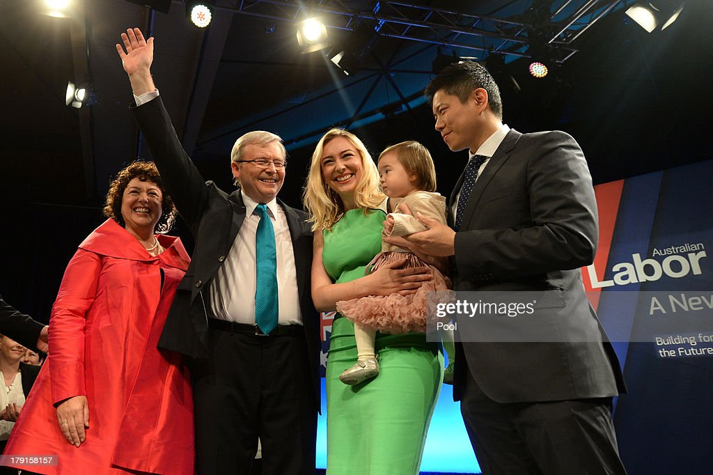 Prime Minister Kevin Rudd, wife Therese Rein, daughter Jessica with Her husband Albert Tse and daughter Josephine smile after the Labor party campaign launch at the Brisbane Convention and Exhibition Centre on September 1, 2013 in Brisbane, Australia. The incumbent centre-left Australian Labor Party has trailed the conservative Liberal-National Party coalition for the first four weeks of the campaign, and most pollsters give them little hope of retaining government. Australians head to the polls this Saturday, September 7.