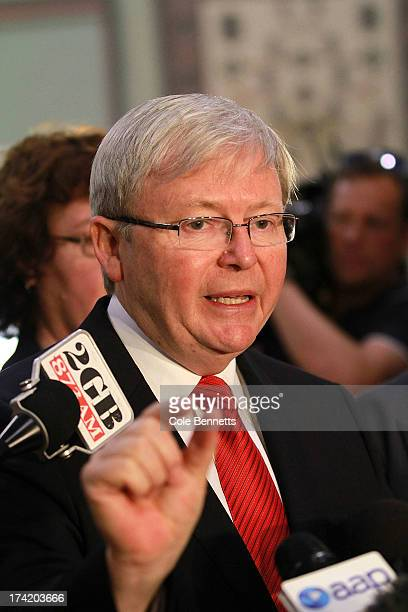 Prime Minister Kevin Rudd with senior cabinet members, holds a press conference on July 22, 2013 in Sydney, Australia. The Labor party federal caucus...