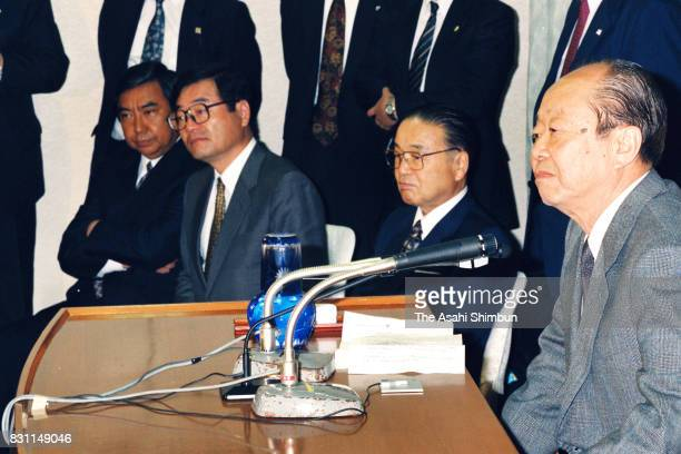 Prime Minister Kiichi Miyazawa and Liberal Democratic Party executives look on as the vote counting of the general election continues at the Liberal...
