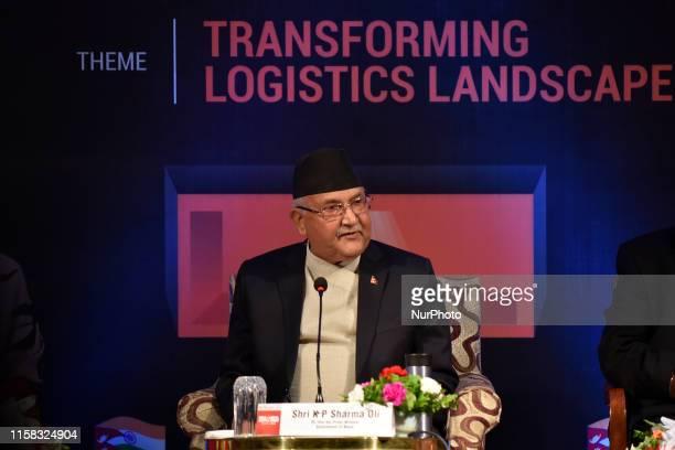 Prime Minister KP Sharma Oli giving speech during India-Nepal Logistics Summit in Kathmandu, Nepal on Sunday, July 28, 2019.