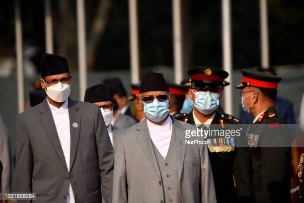 Prime Minister KP Sharma Oli , Speaker Agni Sapkota along with face mask arrive to farewell President Bidya Devi Bhandari for two-day official state...