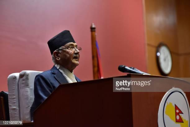 Prime Minister KP Sharma Oli speaks in the National Assembly on the Constitution amendment bill at Kathmandu, Nepal on Thursday, June 18, 2020. The...