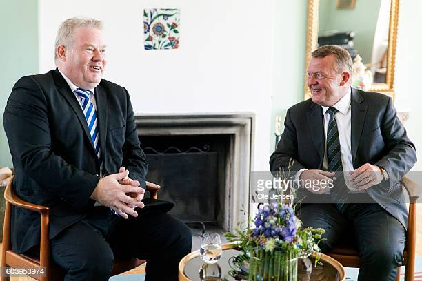 Prime Minister Lars Loekke Rasmussen holds a press briefing with visiting Prime Miniser of Iceland, Sigurdur Ingi Johansson, at the PM's official...