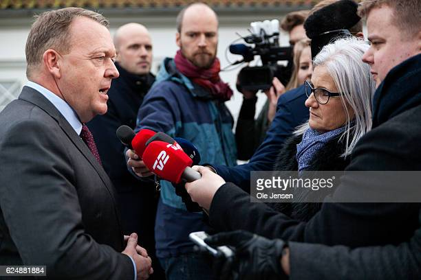 Prime Minister Lars Lokke Ramussen briefs the press about the negotiations with The Liberal Alliance and the Conservative party for forming a new...