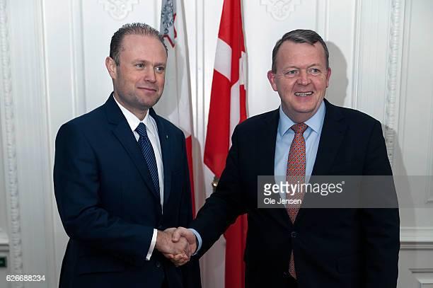 Prime Minister Lars Lokke Rasmussen welcomes visiting Maltese Prime Minister Joseph Muscat at the Ministry of State on November 30, 2016 in...