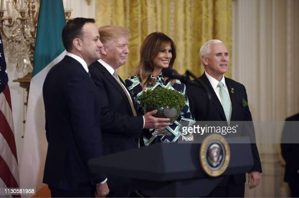 Prime Minister Leo Varadkar of Ireland President Donald J Trump first lady Melania Trump and US Vice President Mike Pence attend the Shamrock Bowl...