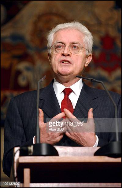 Prime Minister Lionel Jospin Adresses The Economical And Social Council On The Eve Of The Second AntiGlobalization Forum In Porto Alegre On January...