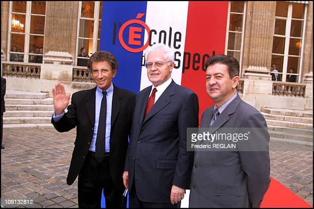 Prime Minister Lionel Jospin Education Minister Jack Lang And Deputy Minister For Vocational Training JeanLuc Melenchon Meet Representatives Of...