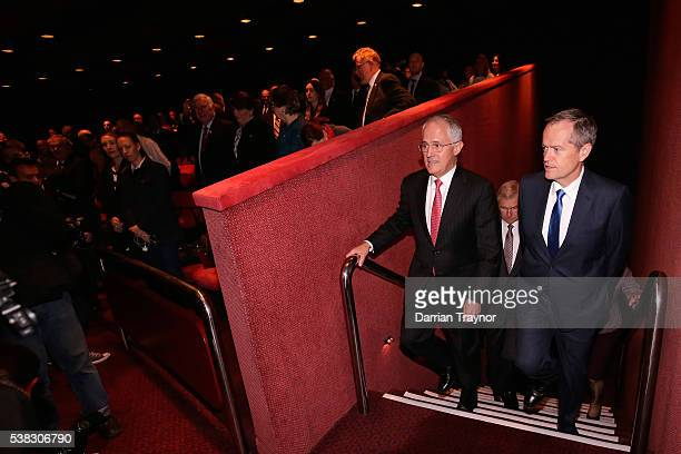 Prime Minister Malcolm Turnball and Opposition leader Bill Shorten arrive at he RSL National Conference on June 6 2016 in Melbourne Australia The...