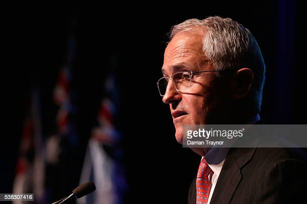 Prime Minister Malcolm Turnball speaks at he RSL National Conference on June 6 2016 in Melbourne Australia The National Conference is commemorating...