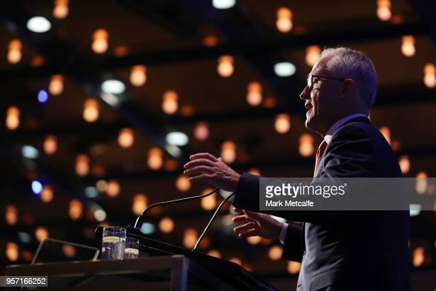 Prime Minister Malcolm Turnbull addresses guests at the NSW Federal Budget Lunch at the Sofitel Wentworth Sydney on May 11 2018 in Sydney Australia...