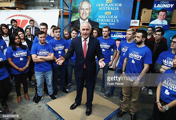 Prime Minister Malcolm Turnbull addresses Robotic Automation in Newington as he campaigns in the electorate of Reid on July 1 2016 in Sydney Australia