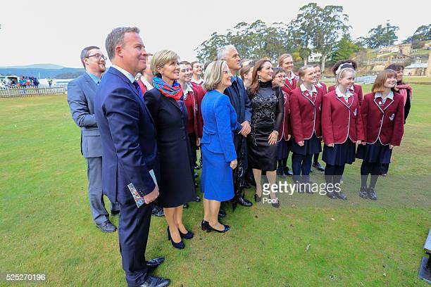 Prime Minister Malcolm Turnbull and Foreign Minister Julie Bishop with choir singers at the Port Arthur 20th Anniversary Commemoration Service on...