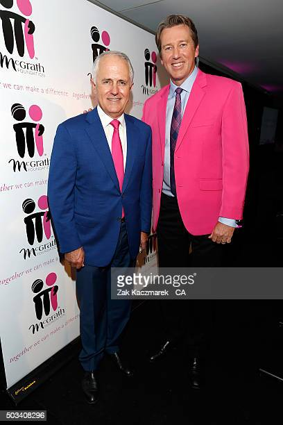 Prime Minister Malcolm Turnbull and Glen McGrath pose during High Tea at the SCG at Allianz Stadium on day three of the third Test match between...
