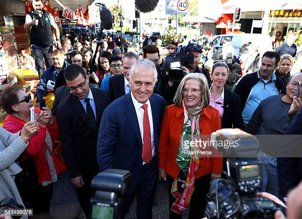 Prime Minister Malcolm Turnbull and his wife Lucy Turnbull arrive at Hurstville Station as he campaigns in the electorate of Barton on June 29 2016...