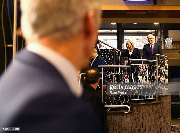 Prime Minister Malcolm Turnbull and his wife Lucy Turnbull arrive to deliver his election address to the National Press Club on June 30 2016 in...
