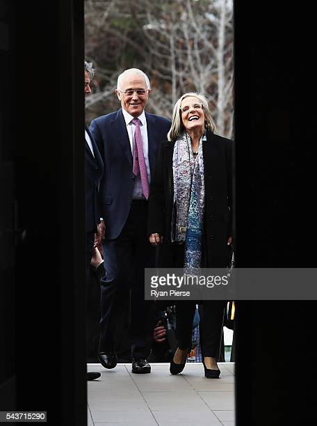 Prime Minister Malcolm Turnbull and his wife Lucy Turnbull arrive to delivers his election address to the National Press Club on June 30 2016 in...