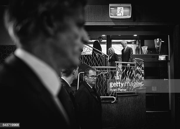 This image was processed using digital filters Prime Minister Malcolm Turnbull and his wife Lucy Turnbull arrive to deliver his election address to...
