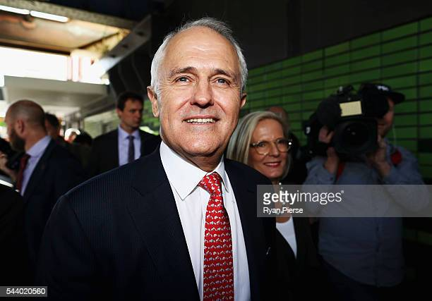 Prime Minister Malcolm Turnbull and his wife Lucy Turnbull meet voters in Burwood as he campaigns in the electorate of Reid on July 1 2016 in Sydney...