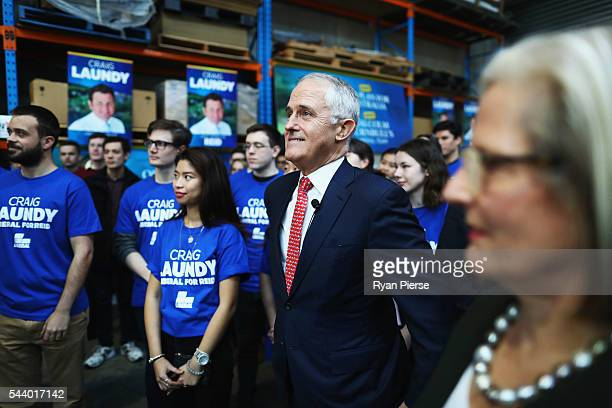 Prime Minister Malcolm Turnbull and his wife Lucy Turnbull visit Robotic Automation in Newington as he campaigns in the electorate of Reid on July 1...