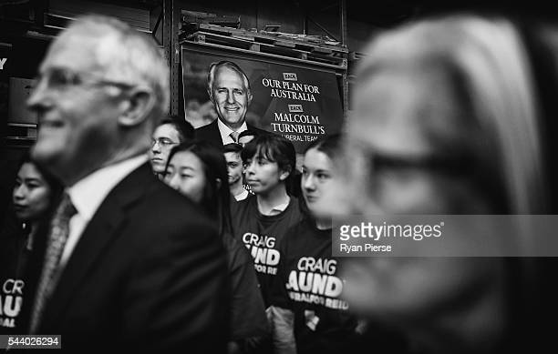 This image was processed using digital filters Prime Minister Malcolm Turnbull and his wife Lucy Turnbull visit Robotic Automation in Newington as he...