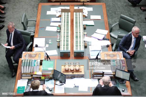 Prime Minister Malcolm Turnbull and Leader of the Opposition Bill Shorten during House of Representatives question time at Parliament House on...