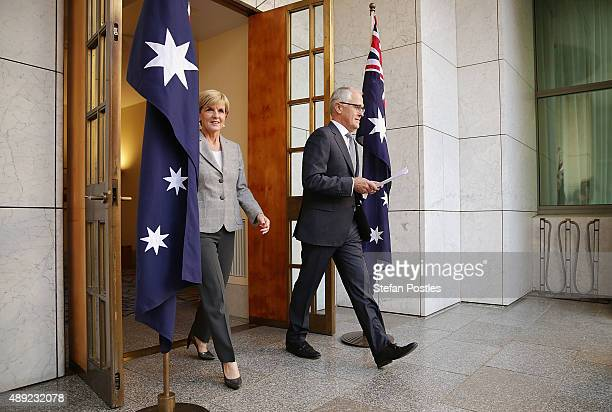 Prime Minister Malcolm Turnbull and Minister for Foreign Affairs Julie Bishop arrive at a press conference to announce the new Ministry at Parliament...
