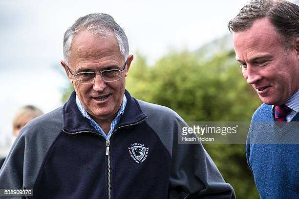 Prime Minister Malcolm Turnbull and Premier Will Hodgman visit flood devestated Latrobe in NW Tasmania on June 9 2016 in Devonport Australia Severe...