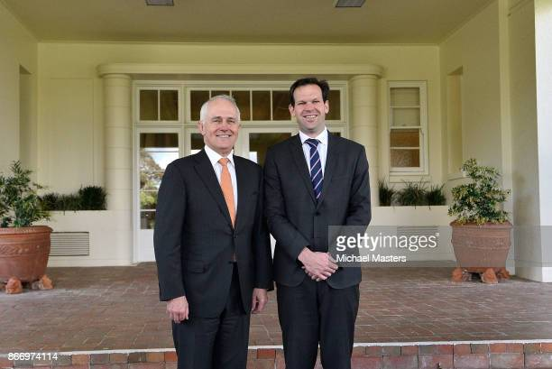 Prime Minister Malcolm Turnbull and Sentor Matt Canavan at Government House on October 27 2017 in Canberra Australia The ministers were sworn in...