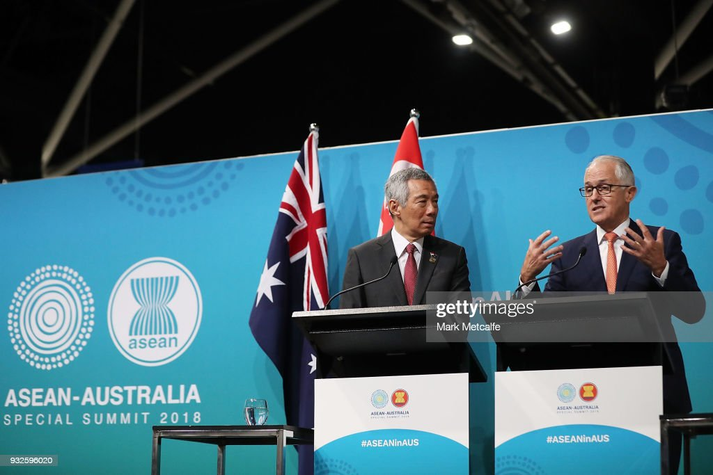 Prime Minister Malcolm Turnbull and Singapore Prime Minister Lee Hsien Loong speak at a Singapore Australia joint press conference on March 16, 2018 in Sydney, Australia. The ASEAN-Australia Special Summit 2018 aims to further deepen economic cooperation, political dialogue and strengthen regional security. It is the first time Australia has hosted the summit with ASEAN leaders in Australia