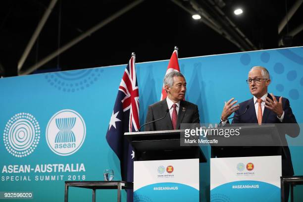 Prime Minister Malcolm Turnbull and Singapore Prime Minister Lee Hsien Loong speak at a Singapore Australia joint press conference on March 16 2018...