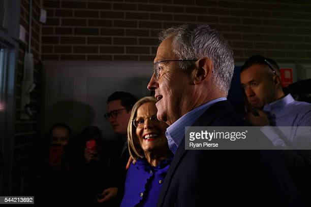 Prime Minister Malcolm Turnbull and wife Lucy Turnbull arrive to vote in Double Bay in their own electorate of Wentworth on July 2 2016 in Sydney...