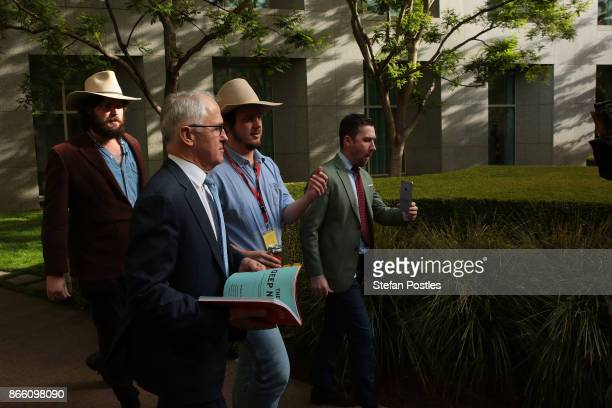 Prime Minister Malcolm Turnbull arrives at the launch of the Betoota Advocate's book 'Betoota's Australia' at Parliament House on October 25 2017 in...