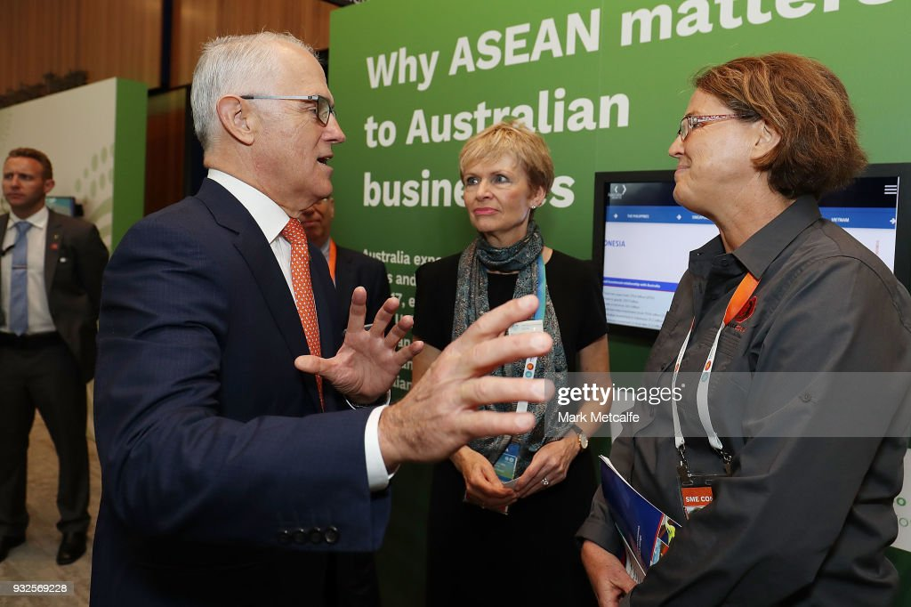 Prime Minister Malcolm Turnbull arrives for a Marketplace walkthrough on March 16, 2018 in Sydney, Australia. The ASEAN-Australia Special Summit 2018 aims to further deepen economic cooperation, political dialogue and strengthen regional security. It is the first time Australia has hosted the summit with ASEAN leaders in Australia