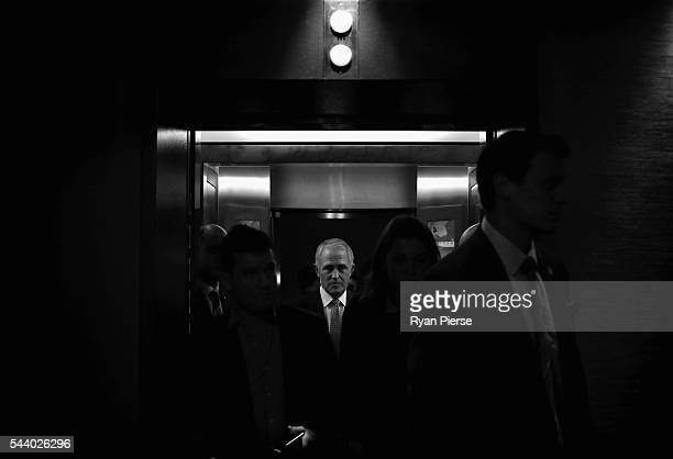 This image was processed using digital filters Prime Minister Malcolm Turnbull arrives for a press conference at the Sofitel Wentworth on July 1 2016...