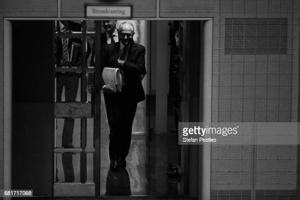Prime Minister Malcolm Turnbull arrives for House of Representatives question time at Parliament House on May 11 2017 in Canberra Australia The...