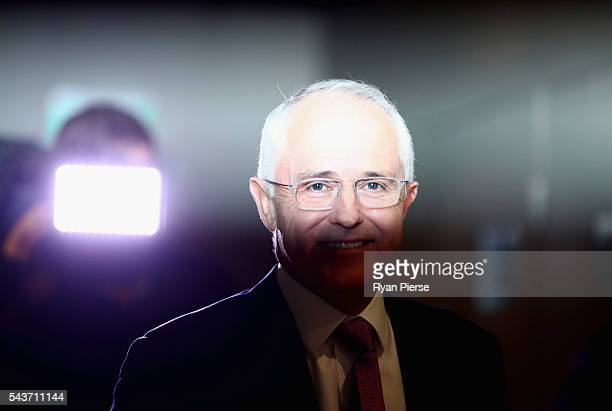 Prime Minister Malcolm Turnbull arrives to delivershis election address to the National Press Club on June 30 2016 in Canberra Australia The Prime...