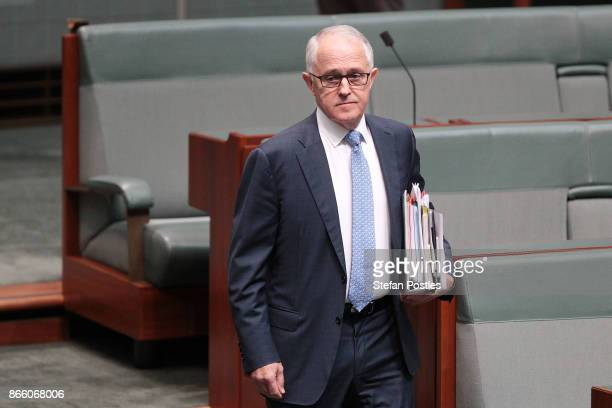 Prime Minister Malcolm Turnbull arrives to House of Representatives question time at Parliament House on October 25 2017 in Canberra Australia The...