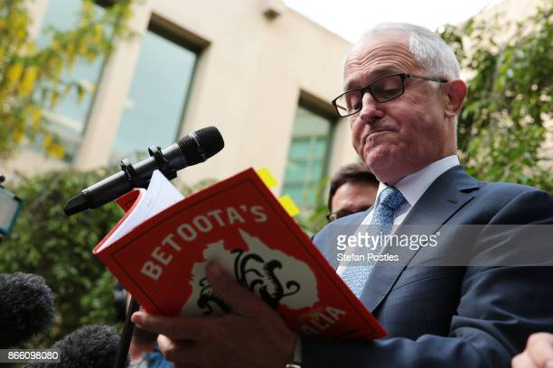 Prime Minister Malcolm Turnbull at the launch of the Betoota Advocate's book 'Betoota's Australia' at Parliament House on October 25 2017 in Canberra...