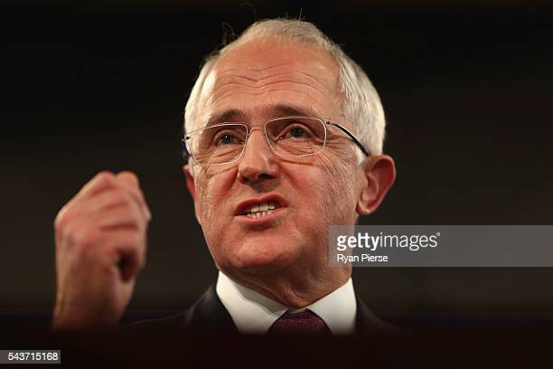 Prime Minister Malcolm Turnbull delivers his election address to the National Press Club on June 30 2016 in Canberra Australia The Prime Minister's...