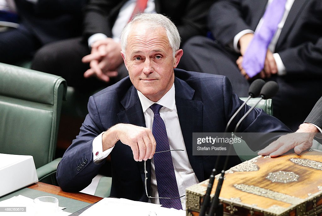 Prime Minister Malcolm Turnbull during House of Representatives question time at Parliament House on September 15, 2015 in Canberra, Australia. Malcolm Turnbull will become the 29th Prime Minister of Australia after he defeated Tony Abbott 54 votes to 44 in a snap leadership ballot on Monday night. Julie Bishop remains deputy leader of the Liberal party following the spill.