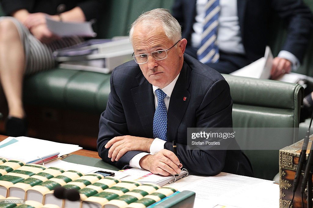 Prime Minister Malcolm Turnbull during House of Representatives question time at Parliament House on May 4, 2016 in Canberra, Australia. The Turnbull Goverment's first budget has delivered tax cuts for small and medium businesses, income tax cuts people earning over $80,000 a year,new measures to help young Australians into jobs and cutbacks to superannuation concessions for the wealthy.