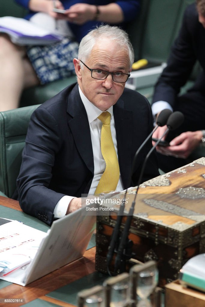 Prime Minister Malcolm Turnbull during House of Representatives question time at Parliament House on August 17, 2017 in Canberra, Australia. Justice Minister is the latest MP to have questions raised over his possible dual citizenship following revelations on Monday that deputy Prime Minister was a dual Australian and New Zealand citizen. Dual citizenship, which is prohibited for members of Parliament under the constitution, has already forced two Greens senators - Scott Ludlum and Larissa Waters - to quit and Nationals senator Matt Canavan to resign as resources minister.