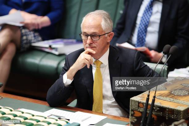 Prime Minister Malcolm Turnbull during House of Representatives question time at Parliament House on August 17 2017 in Canberra Australia Justice...