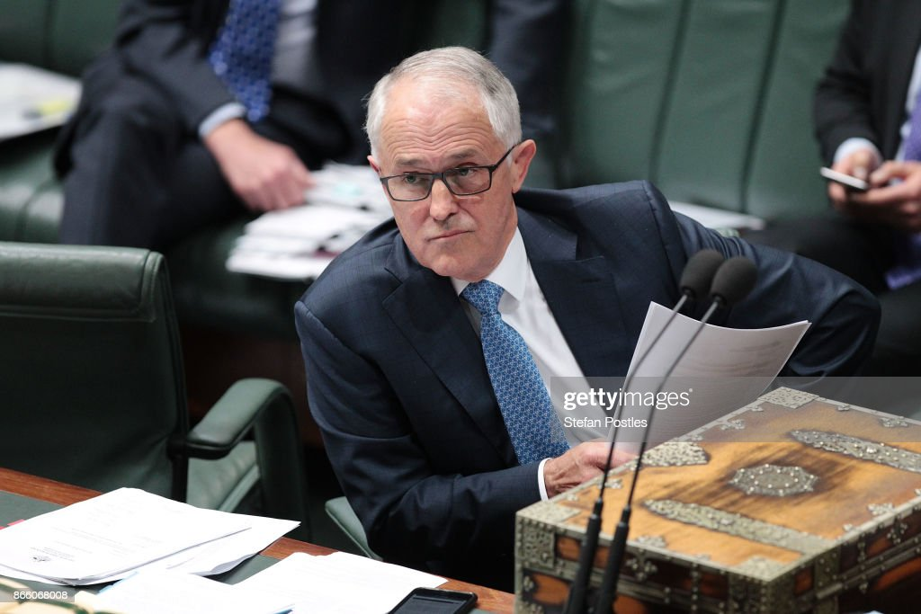Prime Minister Malcolm Turnbull during House of Representatives question time at Parliament House on October 25, 2017 in Canberra, Australia. The Sydney and Melbourne offices of the Australian Workers Union' were raided by federal police yesterday as part of an investigation into donations made more than 10 years ago to the lobby group GetUp and to Labor candidates. Labor leader Bill Shorten has labelled the move as a smear campaign.
